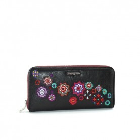 Desigual 19WAYP29 mandala black zip around wallet