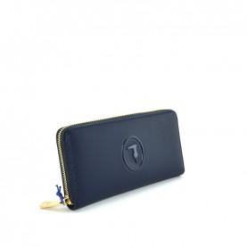 Trussardi jeans 75B00246 Lisbona blue zip around wallet