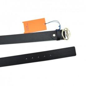 Trussardi jeans 75L00113 logo black leather belt