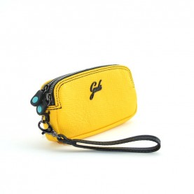 Gabs Gfolderbig Black palmellato yellow leather wallet