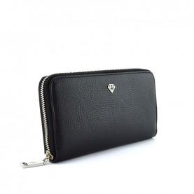 Caleidos 04W-01BK black leather zip around long wallet