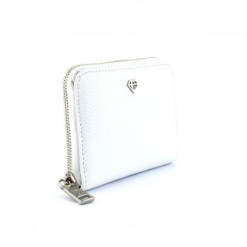 Caleidos 04W-02WH white leather zip around medium wallet