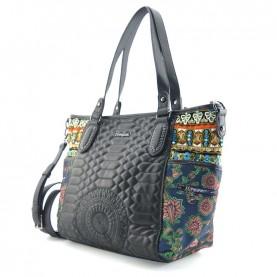 Desigual 19WAXA01 4092 black and kaki shopping bag