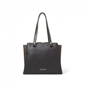 Braccialini B14363 Asia logo brown shopping bag