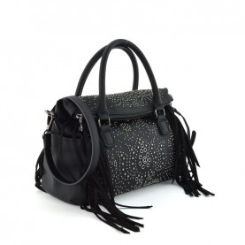 Desigual 20WAXPA9 black handle bag with studs and fringes