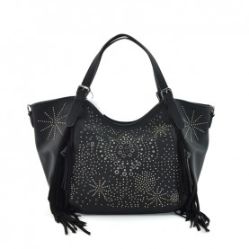 Desigual 20WAXPAA black handle bag with studs and fringes