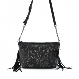 Desigual 20WAXPAC black shoulder bag with studs and fringes