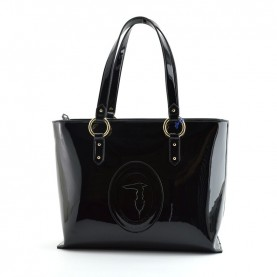 Trussardi jeans 75B00961 Lisbona black pathent leather shopper bag