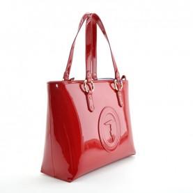 Trussardi jeans 75B00961 Lisbona red pathent leather shopper bag