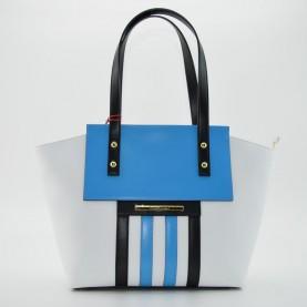 Braccialini B10623 shopping bag Tamarillo white/torqouise