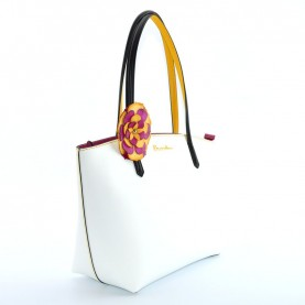 Braccialini B12141 Amelie white leather shopper bag