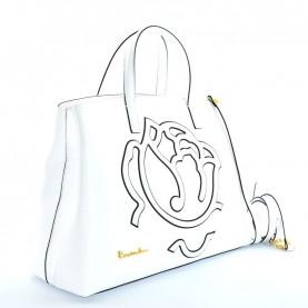 Braccialini B12190 Scarlet white leather handle bag
