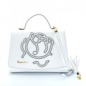 Braccialini B12193 Scarlet white leather handle bag