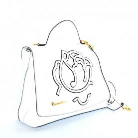 Braccialini B12193 Scarlet white leather handle bag