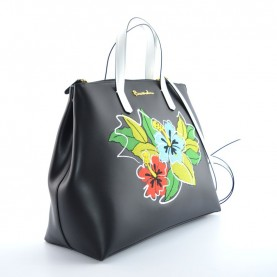 Braccialini B12230 Eva black leather shopper bag
