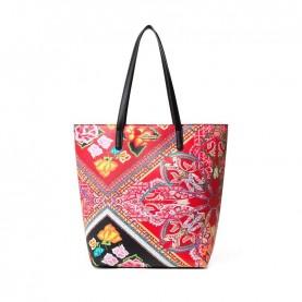 Desigual 19SAXPDQ red printed shopping bag