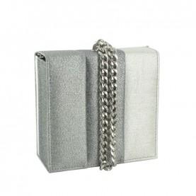 Menbur 84458 silver glitter clutch