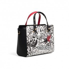 Braccialini B14062 handle bag Murales white black and red