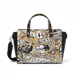 Braccialini B14062 handle bag Murales gold white and black
