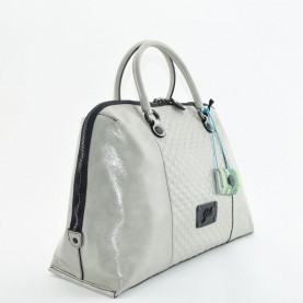 Gabs Esther L leather bag square black pearl grey