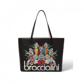 Braccialini B14803 Britney black parrot shopper bag