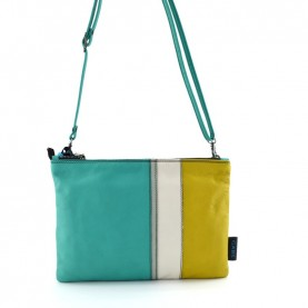 Gabs Beyoce M turquoise combination soft black leather bag