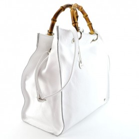 Caleidos 011-19WH white leather shopper bag with bamboo handle