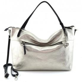 Caleidos 009-01GD platinum leather shopper bag