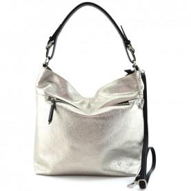 Caleidos 009-09GD platinum leather satchel bag