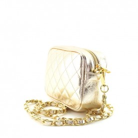 Caleidos 006-01GD gold leather mini shoulder bag