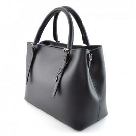 Caleidos 029-02BK black leather handle bag