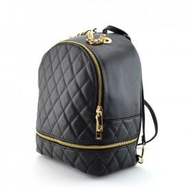 Caleidos 006-09BK black leather backpack bag