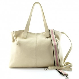 Caleidos 019-01BG beige leather shopper bag