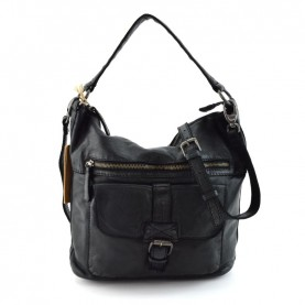 Gianni Conti 4294780 black leather satchel bag