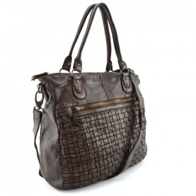 Gianni Conti 4503336 brown weaved leather shopper bag