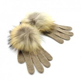 Bruno Carlo beaver gloves with real fru pompom