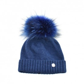 Bruno Carlo blue hat with real fur pompom