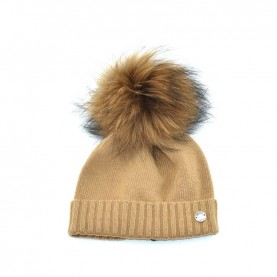Bruno Carlo camel hat with real fur pompom
