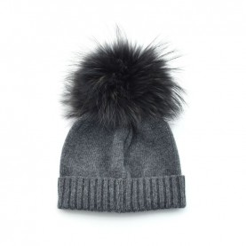 Bruno Carlo anthracite grey hat with real fur pompom