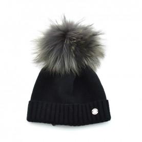 Bruno Carlo black hat with real fur pompom