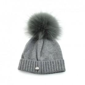 Bruno Carlo grey hat with real fur pompom