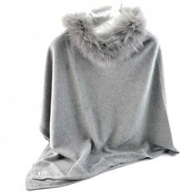 Bruno Carlo grey poncho with real fur
