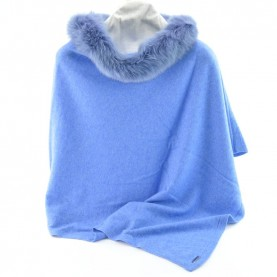 Bruno Carlo jeans poncho with real fur