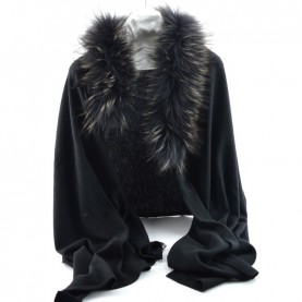 Bruno Carlo black stole with real fur