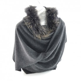 Bruno Carlo anthracite grey stole with real fur