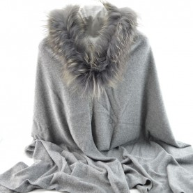 Bruno Carlo grey stole with real fur