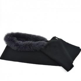 Bruno Carlo black scarf with real fur