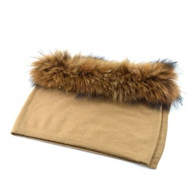 Bruno Carlo camel scarf with real fur