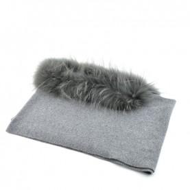 Bruno Carlo grey scarf with real fur
