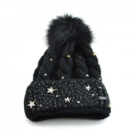 Cult 4645 black hat with ponpon and studs